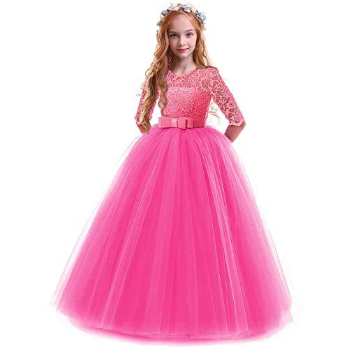 OBEEII Prinzessin Kleid Mädchen Abendkleid für Hochzeit Brautjungfer Blumenmädchen Geburtstag Party Jugendweihe Fasching Cocktail Dance Ballkleid Rose 7-8 Jahre