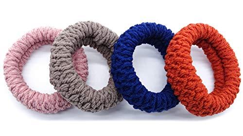 irresistible1 confezione da 4 elastici colorati per capelli anti-strappo in rosa, arancione, blu navy e tortora
