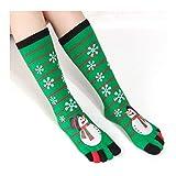 M&OURNM Calcetines de Punta Estampada de Dibujos Animados Divertidos de Moda para Mujer Calcetines de Cinco Dedos Calcetines Suaves Casuales Calcetín de Navidad H 4 Pares