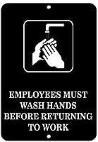面白い警告標識金属安全標識家、従業員は手を洗う必要がありますビジネスサイン機能部門、寝室楽しい装飾ダイニングルームダイニングルームダイニングルームポスター