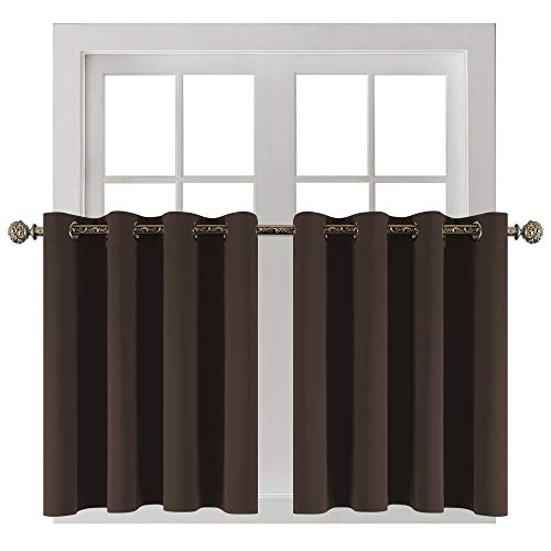 YGO Window Curtain Valances Kitchen Tiers Short Curtains Blackout Drapes Half Length Solid Panels Thermal Insulated Light Block for Bathroom Bedroom 52 W x 36 L, Coffee Set of 2