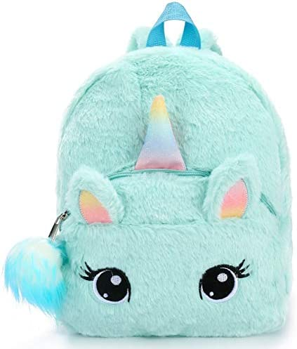 Unicorn Backpack Girls Blue Plush Cute Mini Bookbags School Bags for Nursery product image