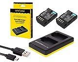 3in1-SET für die Panasonic Lumix G GH5 / DC-GH5 mit 2 PREMIUM Akku kompatibel mit DMW-BLF19 und DMW-BLF19E (2000mAh) + Dual Ladegerät (lädt 2 Akkus gleichzeitig)