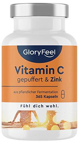 Vitamin C + Zink - 365 vegane Kapseln - 1000mg gepuffertes pflanzliches Vitamin C (säurefrei & magenfreundlich) plus 20mg Zink pro Tagesdosis - Laborgeprüft ohne Zusätze in Deutschland hergestellt