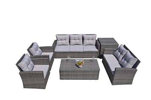 Wegot Godfrey 7 Piece Sectional Set with Cushions for Patio Gathering (Grey)
