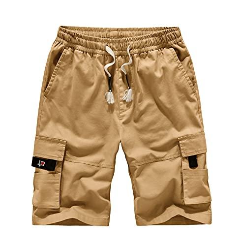 Leezepro Uomo Pantaloncini Cargo in Cotone Bermuda Pantaloni Moda con Coulisse Shorts per Casual Corti (S, Cachi)