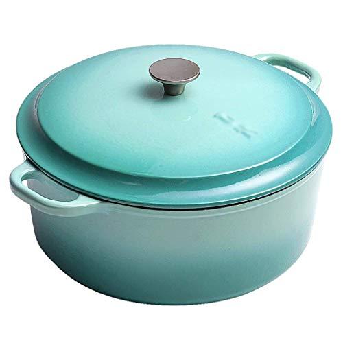 zyl Cocotte Ronde en Fonte émaillée avec Couvercle revêtement en émail résistant 25 cm 4 litres Pot à ragoût épaissi (Couleur: C)