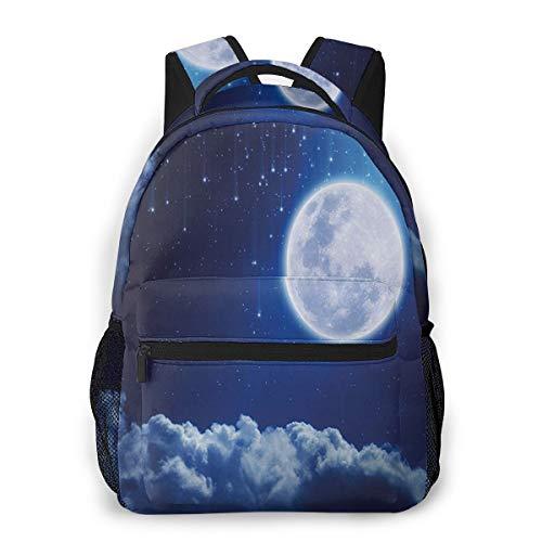 Rucksack Männer und Damen, Laptop Rucksäcke für 14 Zoll Notebook, Mond geheimnisvolle Sternschnuppen Himmel Kinderrucksack Schulrucksack Daypack für Herren Frauen
