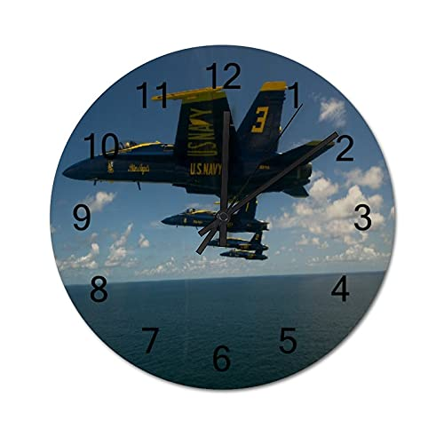 Reloj de Pared Vintage,Los ángeles Azul Aeroplano AVI,Relojes de Pared de Madera silenciosos Que no Hacen tictac,Reloj de Pared rústico de Granja para la decoración del Dormitorio de la Sala de Estar