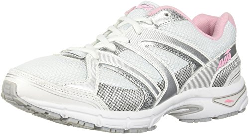 Avia Women's Avi-Execute-II Running Shoe, White/Chrome Silver/Tickle Pink, 11 M US