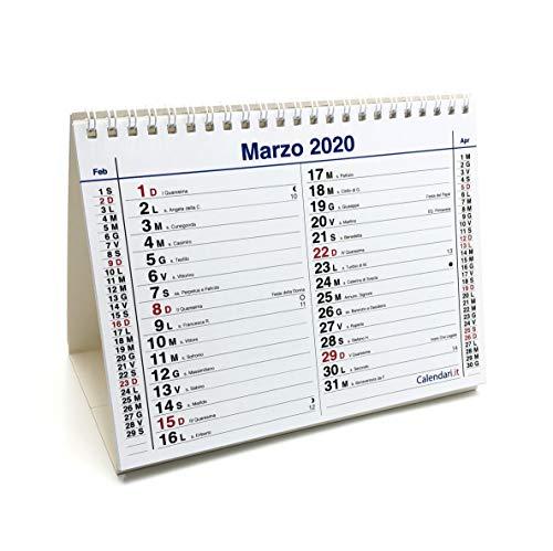 Calendario 2020 da tavolo mod. olandese - 14 fogli - (fronte mese e retro anno intero) - 28 pagine 20x15 cm per ufficio casa e lavoro con santi e lune