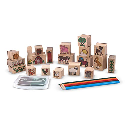 Melissa & Doug Stamp-a-Scene Wooden Stamp Set: Farm - 20 Stamps  5 Colored Pencils  and 2-Color Stamp Pad