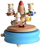 Mopoq Día Presente pura música muebles de Avión cerdo parque de atracciones de música de madera caja del mecanismo de accionamiento de haya niños Crafts creativos regalos de cumpleaños regalo de San V
