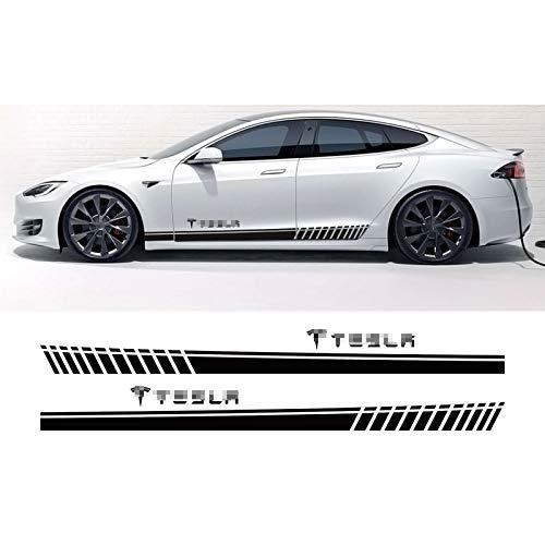 2 piezas de pegatinas de rayas largas de falda lateral de puerta de coche, para Tesla Model 3 SX P100D, decoración de carrocería de coche, envoltura de película de vinilo, accesorios de calcomanía