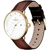 Nordgreen Philosopher Scandinavian Gold Unisex Analog 40mm (Large) Watch with Brown Leather Strap 10003