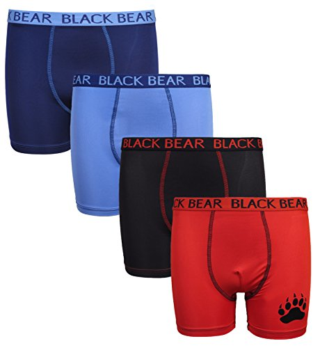 Black Bear Boys' Performance Dry-Fit Compression Boxer Brief (4 Pack), Light Blue, Navy, Black, Red, X-Large / 16-18'