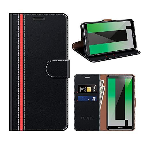 COODIO Huawei Mate 10 Lite Hülle Leder, Mate 10 Lite Kapphülle Tasche Leder Flip Cover Schutzhülle Rugged für Huawei Mate 10 Lite Handyhülle, Schwarz/Rot