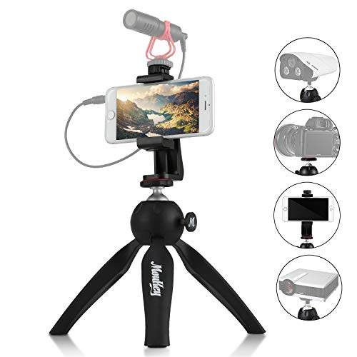 Moukey Mini Tripod Mount,Small Tabletop Desktop Tripod Stand for iPhone, Smartphone, Vlog, GoPro, Webcam, DSLR Compact Camera with Universal Phone Holder Portable Handheld and Foldable