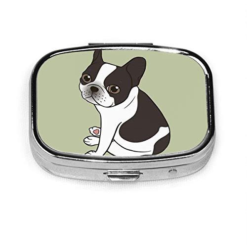 Cute French Bulldog Case Portable Mini Container Organizer with 2 Compartments Square Pill Box