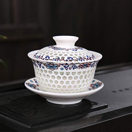 QIA Teetassen-Set, Honeycomb Exquisite Tee-Set Schüssel, Teetasse, Leere Teetasse-chinesische Keramik (4 Stück),C