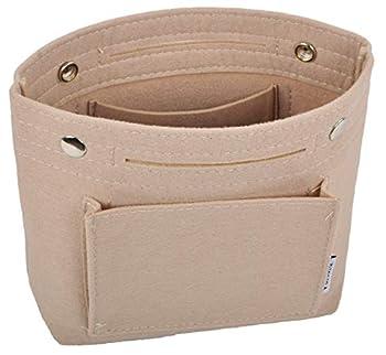 Vercord Mini Slim Small Felt Purse Organizer Insert Inside Handbag Tote Pocketbook for Women Beige