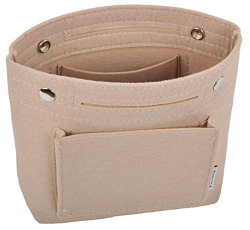 "Made of felt fabrics, lightweight, pliable and durable. Length(Flat Upper Length)*Height*Width: 7.1""(9.4"")*7.5""*2.8"". Exterior: Front 1 insert pocket, back 1 pocket; Interior: 2 insert pockets. Snap button closure, help to secure items inside. ""Invis..."
