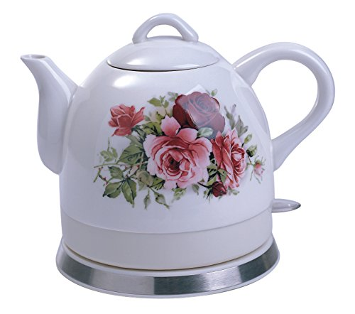 FixtureDisplays Ceramic Electric Kettle with Rose Flower Pattern 12026-FBA