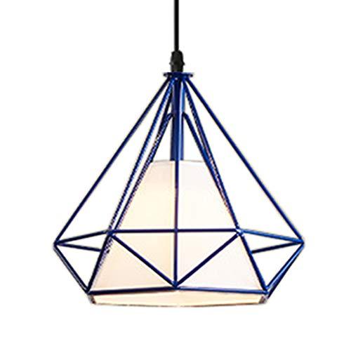 Lampadario Industriale Vintage Lampada a Sospensione da Soffitto Gabbia Diamanti Di Metallo Paralume Ø25cm Retro Plafoniera E27 Loft Stile (Blu)