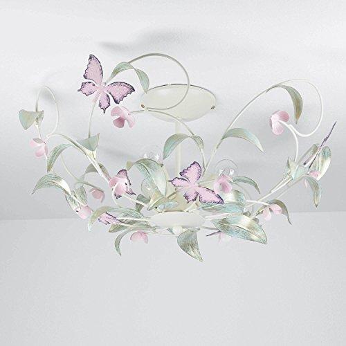 Verspielte Deckenleuchte in Weiß Rosa Floraler Stil 3x E14 bis zu 60 Watt 230V aus Metall, für Küche Esszimmer Lampe Leuchten Beleuchtung