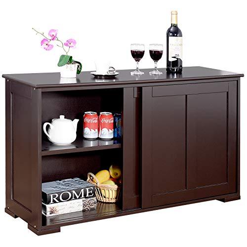 DREAMADE Armadietto da Cucina Mobile Multiuso per Sala da Pranzo con Ante Scorrevoli, in MDF Resistente (Marrone)
