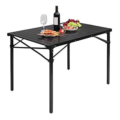 WOLTU Alu Tisch Campingtisch Buffettisch 104x69x70cm(LxBxH) zusammenklappbar und tragbar Reisetisch, hohe Tragfähigkeit und Stabilität, Schwarz CPT8134sz