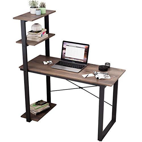 sogesfurniture Mesa de Ordenador Escritorios para Computadora con Estante, Escritorio de Oficina Mesa de PC Mesa de Trabajo Mesa de Estudio de Madera y Acero, 120 x 55 x 136 cm BHEU-CZKLD-HD