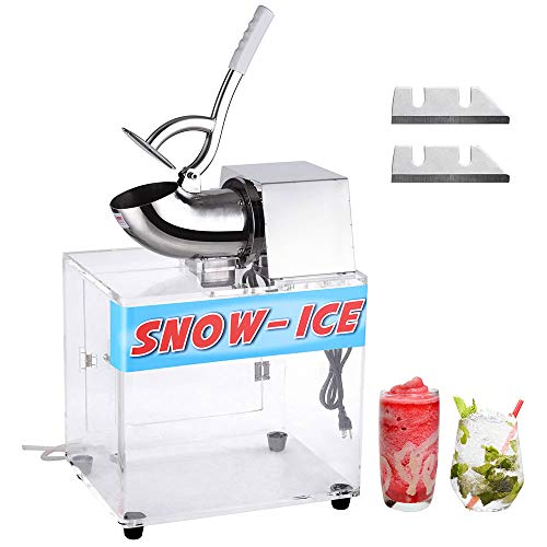 Yescom Electric Snow Cone Machine Slush Maker Stainless Steel Ice Shaver Crusher Dual Blades 250w 440lbs Home Commercial