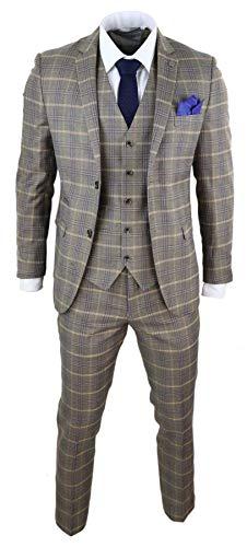 Paul Andrew Herrenanzug 3 teilig Braun Holzbraun Fischgräte Tweed Design 1920 Klassisch - braun 50EU/40UK Sakko- 34