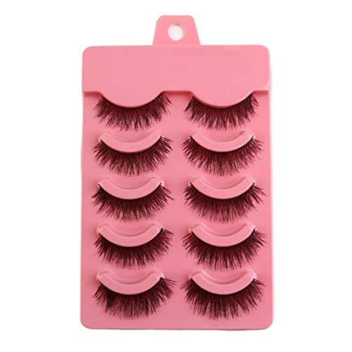VCB 5 Paires/Ensemble Natual Fashion Handmade Soft Eye Lashes Extension Accessoire de Maquillage - Noir