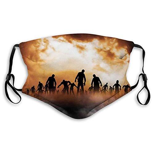 Halloween Zombies Dead Men Walking Körper im Doom Mist am Nachthimmel Haunted Theme Print, Orange Schwarz Schöner Mundschutz zum Schutz vor Staubrauch,20x15cm