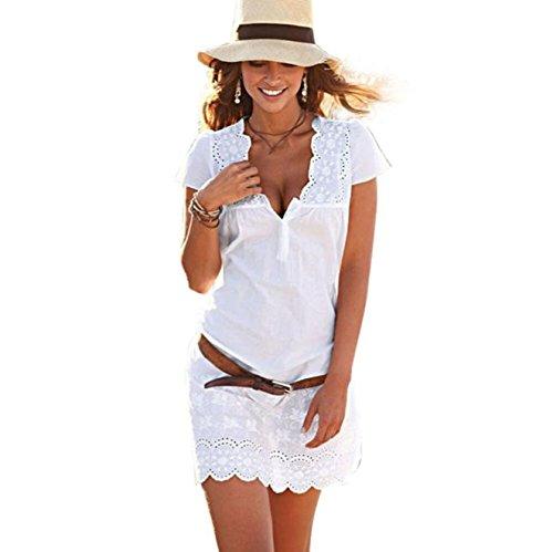 Elecenty Damen Kurzarm Spitzekleid Sommerkleid,Rock Mädchen Tief V-Ausschnitt Kleider Frauen Solide Kleid Minikleid Kleidung Abendkleider Partykleid MaxiKleid kein Gürtel (L, Weiß)