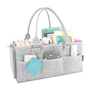 Diaper Caddy Organizer, Baby Diaper Basket Nursery Essentials Nappy Organizer Tote Bag, Portable Storage Bins with Sturdy Handle for Car Travel, 15x9x7 in – Perfect Baby Shower Gift Idea for Girl Boy