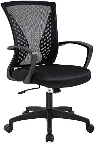 Home Office Chair Ergonomic Computer Desk Chair Mesh Task Chair with Lumbar Support Swivel Rolling Office Chairs Adjustable Mid Back Mesh Chair for Adults, Black