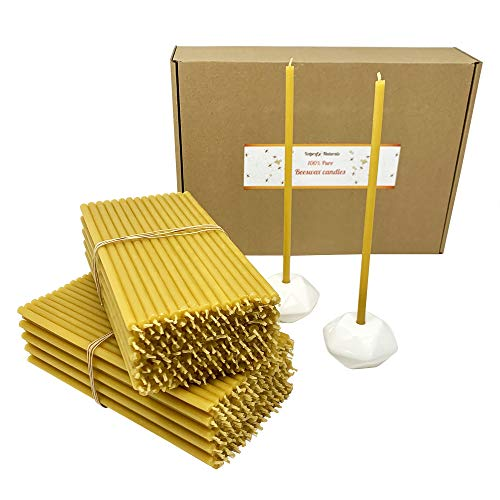 300 All Natural Décor 100% Pure Beeswax Taper Candles – Bulk, Tall (8 in), Unscented, Dripless, Smokeless, Slow Burning, Non Toxic, Honey Scent - for Home, Dinner, Cake, Prayer, Hanukkah, Christmas