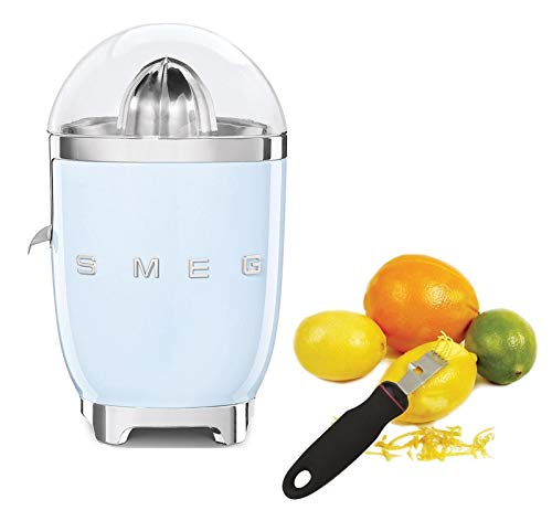 Smeg CJF01PBUS Powder Coated Vintage Style Citrus Juicer Bundle with Norpro 113 Grip-Ez Zester/Stripper - Pastel Blue
