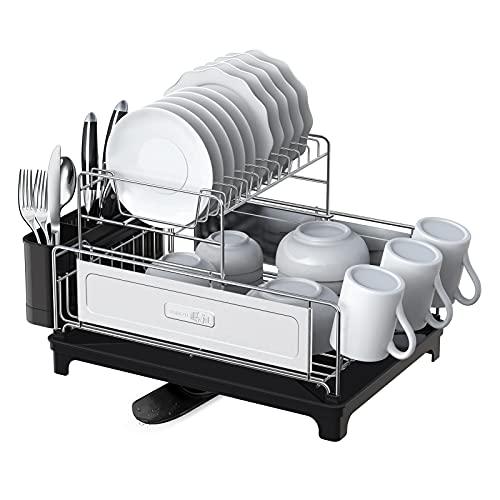 SHAN ZU 2-stufiges Abtropfgestell, Geschirrständer, Geschirrkorb aus 304 Edelstahl, mit Getränkehalter, Besteckhalterkorb, Abtropfschale, Utensilienhalter für Küchenarbeitsplatte Spüle