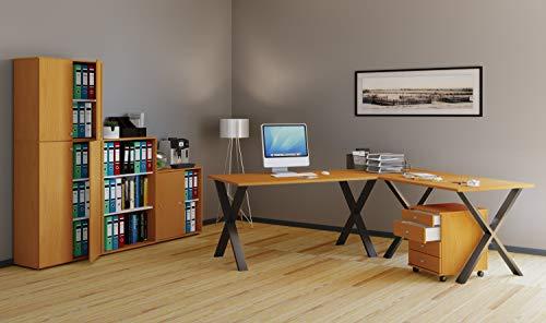 VCM Eckschreibtisch, Schreibtisch, Büromöbel, Computertisch, Winkeltisch, Tisch, Büro, Lona 190x160x80: Buche