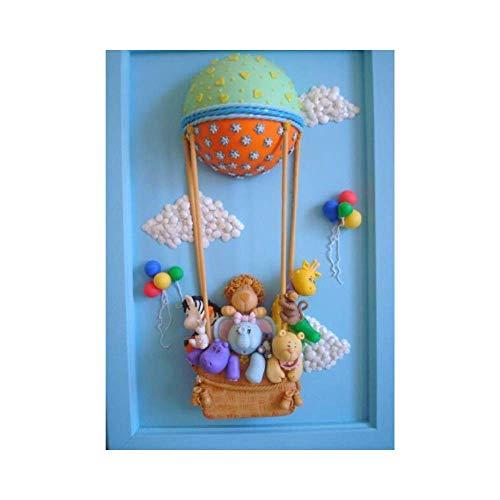 Pootshi- Cuadro Decorado Con Porcelana Fría Personalizado Hecho en España, Para Decorar Habitación del Bebé, Ideal Para Regalo o Recuerdo.