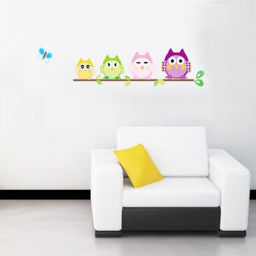 WallStickersDecal - Adesivo da parete con civette e farfalle, multicolore