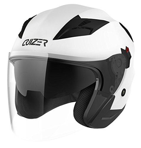 CRUIZER Helm Moto Jet ECE, doppeltes Visier, Weiß, Größe L
