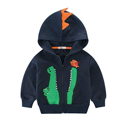 LitBud niños pequeños sudaderas con capucha Navidad Acción de gracias chaqueta de dibujos animados dinosaurio Cocodrilo cremallera Capa otoño abrigo para niños Azul Tamaño 5-6 años 6T