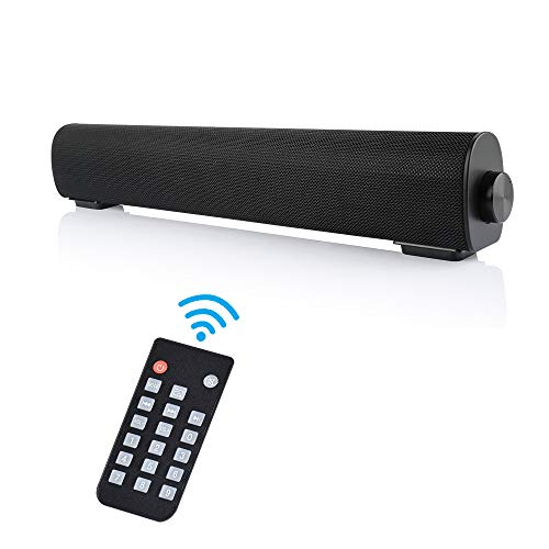 Small Soundbar for PC with Bluetooth, Outdoor/Indoor Wired & Wireless Stereo Speaker with Remote, 2 X 5W Mini Home Theater Sound bar with Built-in Subwoofers for Phones/Tablets/Gaming/Computer