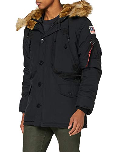 ALPHA INDUSTRIES Herren Polar Jacket Parkas, Schwarz (Black 03), Medium