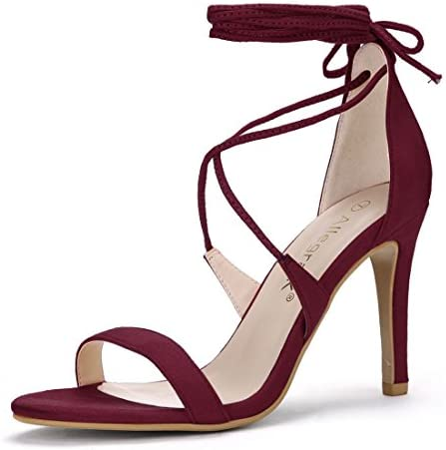 Burgundy high heel shoes _image4
